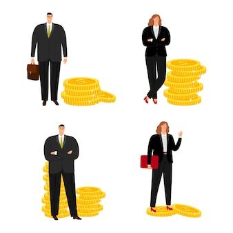 Uomo d'affari e donna di affari del personaggio dei cartoni animati con le monete isolate su bianco