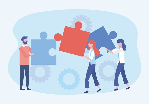 Uomo d'affari e donne d'affari con connessione di puzzle e ingranaggi