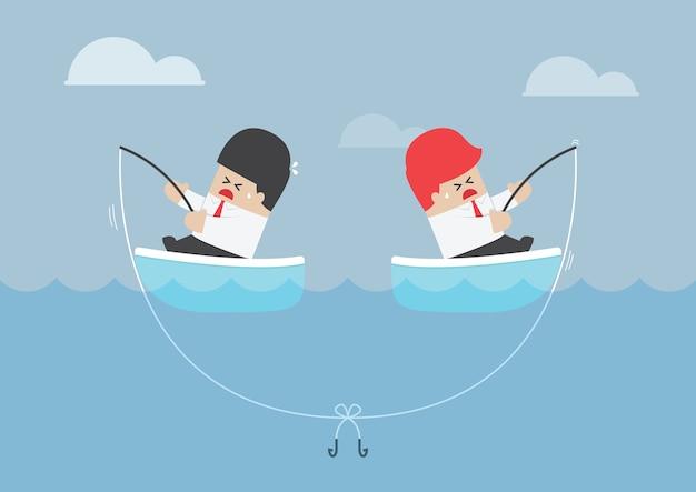 Uomo d'affari e il suo rivale che hanno problemi con la canna da pesca