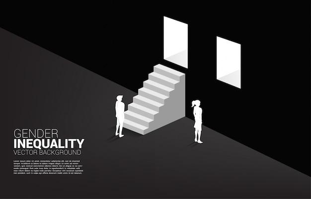 Uomo d'affari e imprenditrice al muro e l'unico uomo con la scala per uscire dalla porta.