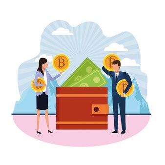 Uomo d'affari e imprenditrice eliminando bitcoin e fatture da un portafoglio
