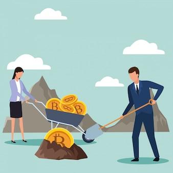 Uomo d'affari e imprenditrice in cerca di bitcoin