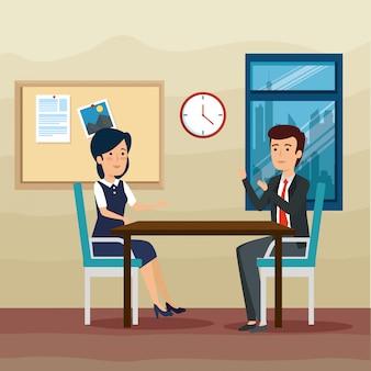Uomo d'affari e imprenditrice in ufficio