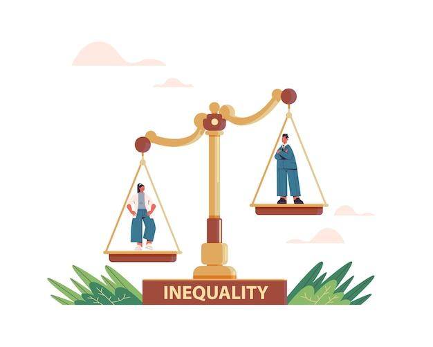 Uomo d'affari e imprenditrice su scale concetto di disuguaglianza aziendale di genere maschile vs femminile ineguali opportunità