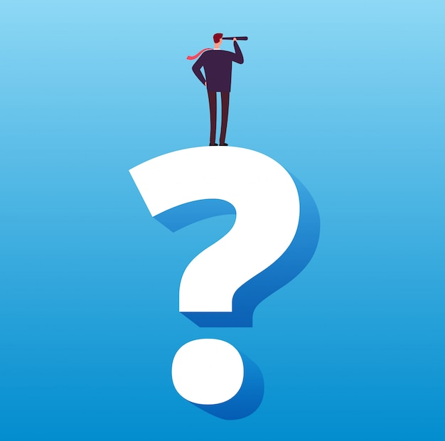 Uomo d'affari e punto interrogativo. decisione futura, scelta della strategia e concetto di vettore di sfida aziendale
