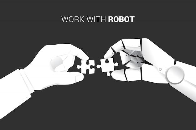 Uomo d'affari e robot mettono pezzi di puzzle per adattarsi insieme.