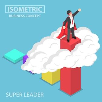 Uomo d'affari eccellente isometrico che sta sulla cima del grafico