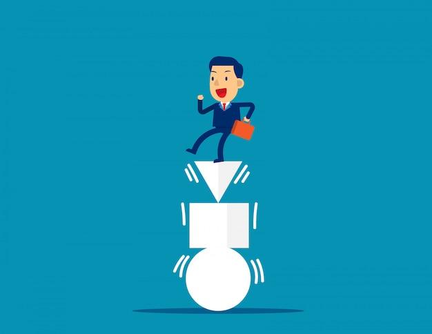 Uomo d'affari ed equilibrato, equilibrio, sfida.