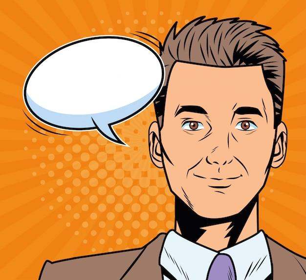 Uomo d'affari elegante con stile pop art fumetto