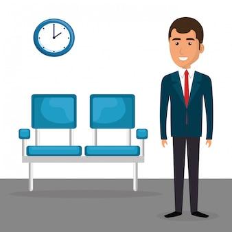 Uomo d'affari elegante nella sala d'attesa