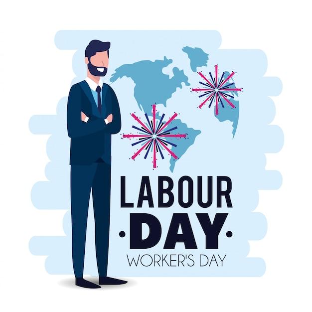 Uomo d'affari elegante per festeggiare la giornata del lavoro
