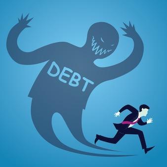 Uomo d'affari esegui dal debito