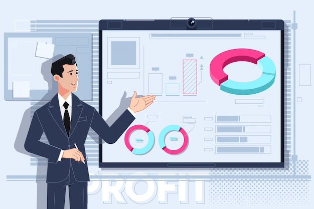 Uomo d'affari facendo una presentazione