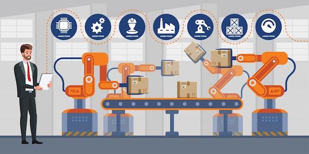 Uomo d'affari facendo uso della compressa per controllare la macchina del braccio del robot di automazione nell'industriale astuto della fabbrica. infografica industria 4.0.