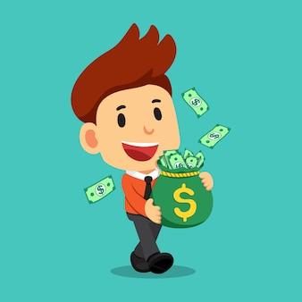 Uomo d'affari felice che cammina e che porta borsa dei soldi