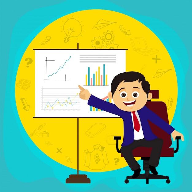 Uomo d'affari felice che illustra idea o piani d'affari attraverso la presentazione.