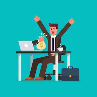Uomo d'affari felice che ottiene borsa di soldi dal suo computer portatile