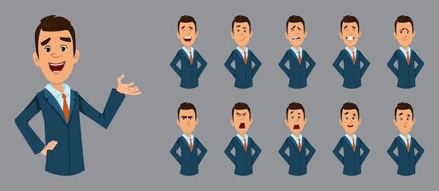 Uomo d'affari felice con espressione facciale diversa