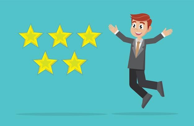 Uomo d'affari felice di ottenere cinque stelle.