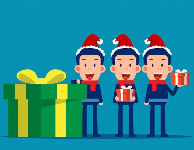 Uomo d'affari felice e confezione regalo