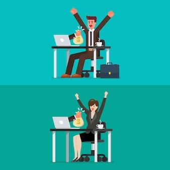 Uomo d'affari felice e donna che ottengono borsa di soldi dal suo computer portatile