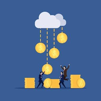 Uomo d'affari felice per soldi pioggia da cloud online.
