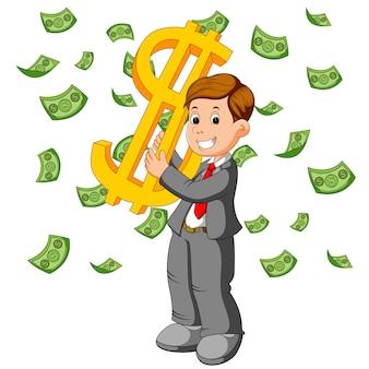 Uomo d'affari felice sotto caduta piovendo spettacolo di soldi