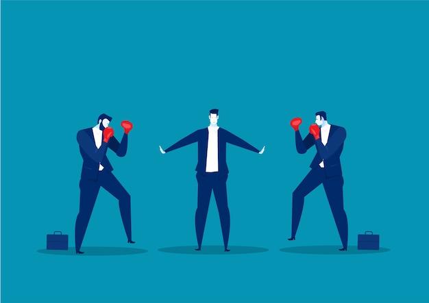 Uomo d'affari fermare il conflitto smettere di combattere, concetto di dipendente