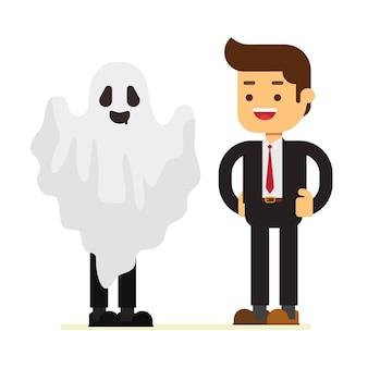 Uomo d'affari ghost at halloween day