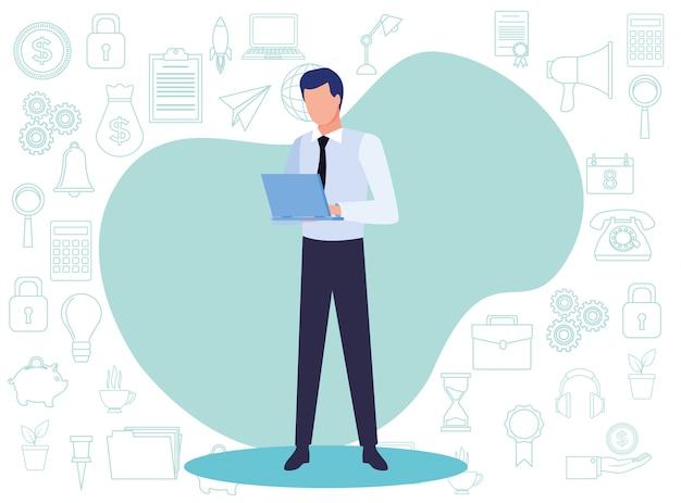 Uomo d'affari giovane con illustrazione di carattere avatar documento