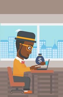 Uomo d'affari guadagnare denaro dal business online.
