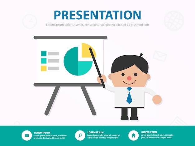 Uomo d'affari ha presentato il suo modello di infografica di lavoro