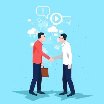 Uomo d'affari handshake business people che agita affare della mano