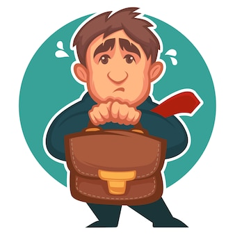 Uomo d'affari impaurito, personaggio dei cartoni animati con emozione depressa sul viso