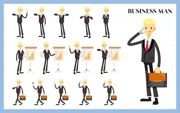 Uomo d'affari impostato con variazione di posa