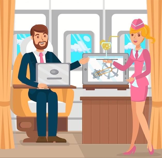 Uomo d'affari in aereo. vector piatta illustrazione.