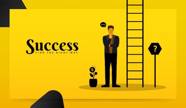 Uomo d'affari in cerca di attività di destinazione e in piedi con la scala verso il successo