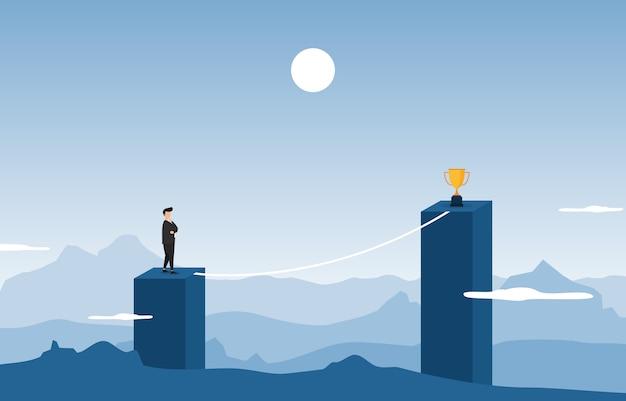 Uomo d'affari in cima alla costruzione del pensiero come raggiungere obiettivo con il concetto di affari di ostacolo