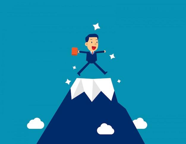 Uomo d'affari in cima alla montagna. stile personaggio kid, successo.