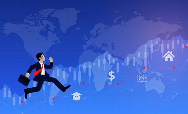Uomo d'affari in esecuzione sulla linea del grafico per obiettivo per raggiungere il successo