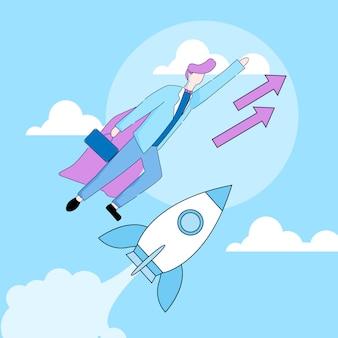Uomo d'affari in mantello da supereroe flying up rocket.