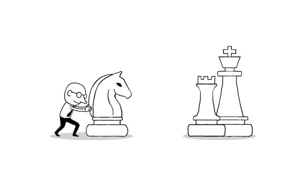 Uomo d'affari in movimento un grande cavaliere di scacchi in avanti per il successo
