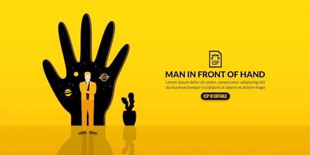 Uomo d'affari in piedi davanti alla mano in aumento