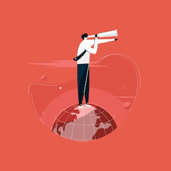 Uomo d'affari in piedi sul globo con grande visione, mirando alla prossima illustrazione di crescita superiore, alla ricerca di opportunità