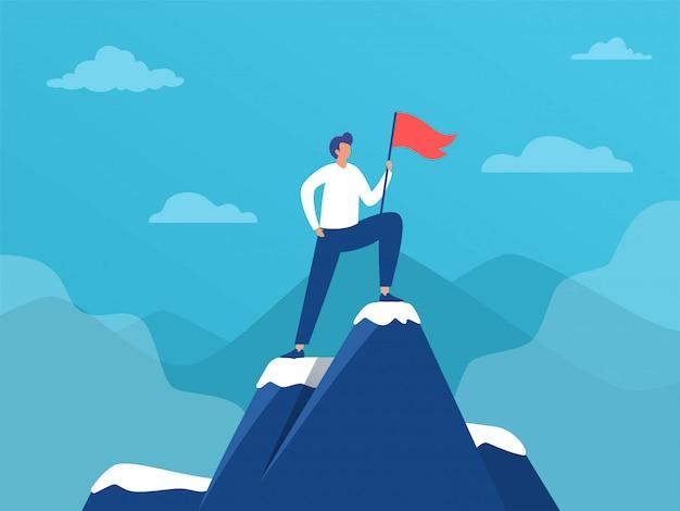 Uomo d'affari in piedi sulla cima della montagna con bandiera, leadership di successo, illustrazione, persone raggiungono l'obiettivo, landing page, template, interfaccia utente, web, homepage, poster, banner, flyer