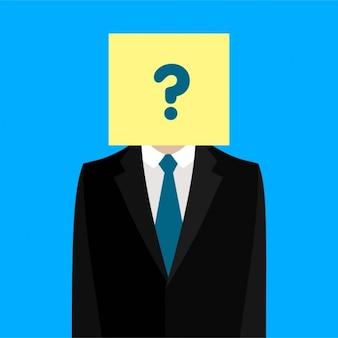 Uomo d'affari in possesso di un cartellone con un punto interrogativo su di esso
