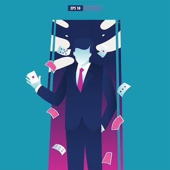 Uomo d'affari in possesso di una carta asso.