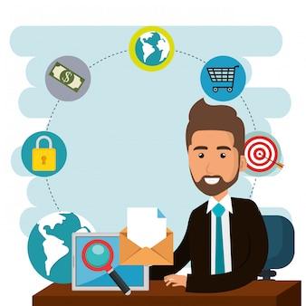 Uomo d'affari in ufficio con icone di marketing e-mail