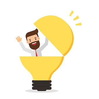 Uomo d'affari in una lampadina