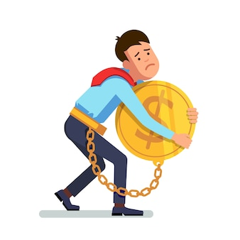 Uomo d'affari incatenato al denaro